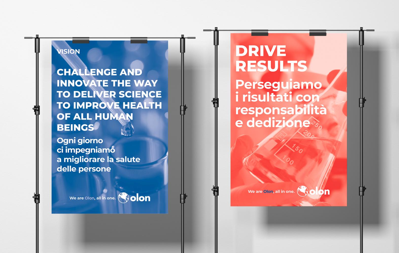 Posters per comunicazione interna aziendale, mission e focus points